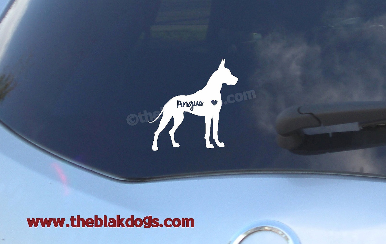 Car sticker custom made - Great Dane Silhouette Vinyl Sticker Personalized Car Decal