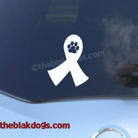 Pawprint Cancer Ribbon Vinyl Sticker Car Decal