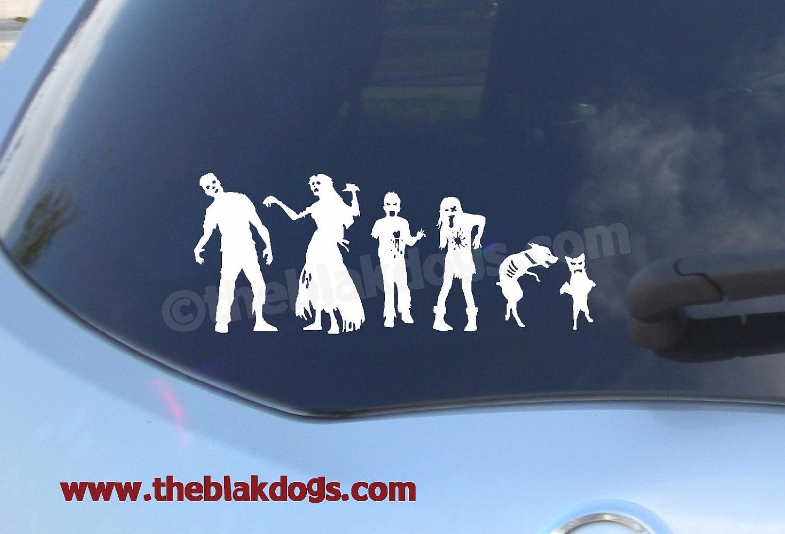 Zombie stick figure family custom sticker vinyl sticker car decal zombie family personalized zombie family